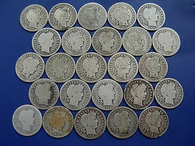 Nice lot of 25 Barber dimes. Many full rims.