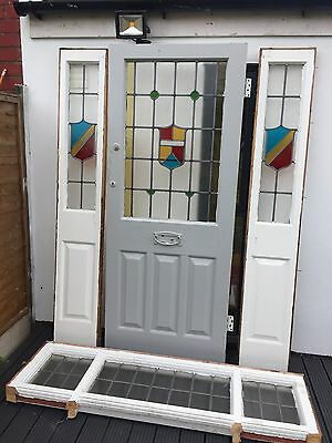 1930s Original stained Glass Front Door With Side And Top Panels
