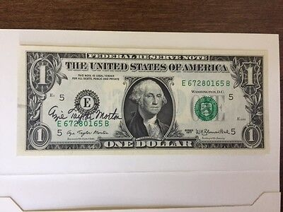 US Dollar Bill Authentic US hand signed by US Treasurer Azie Taylor Morton 1977