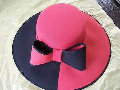 Ladies Jacques Vert Pink and Black Hat Ideal For Wedding Celebration Event