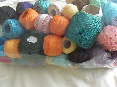 large bag of crochet cotton in various colours