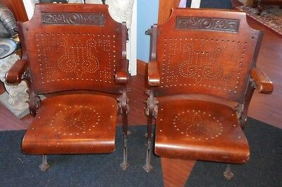 A. H. Andrews 1886 Antique Theater Opera Chairs Seats Cast Iron Wood Pierced set