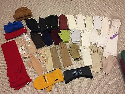 Lot of 24+ pairs of vintage gloves long, short, leather, cotton, beaded