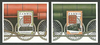 Zambia 1997 Trains Of The World Railway Locomotives Set Of 3 Sheets Mnh