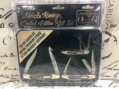 Uncle Henry Limited Edition Knife Gift Set Collector Tin 707Uh, 897Uh, 877Uh