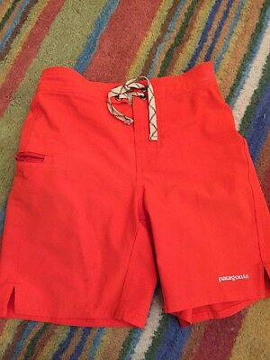 Patagonia Youth Boys Board Shorts Swim Trunks Sz small 8 Bright Orange