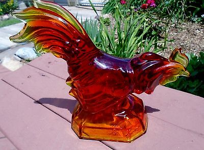 LE Smith Carnival Art Glass Red Amberina Rooster Figurine 8.75""