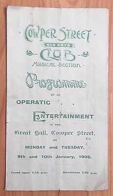 1905 Cowper Street Old Boys Club Musical Section Programme