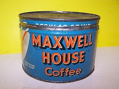Vintage Maxwell House Coffee Tin 1 Lb. Can REGULAR GRIND