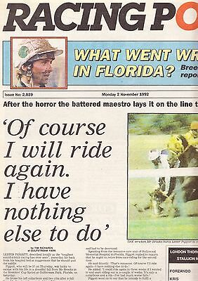 Racing Post Newspaper - Monday November 2, 1992