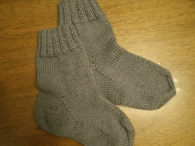 New handmade knitted grey socks