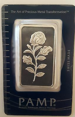 1oz .999 Fine Silver Pamp Suisse Rosa Bar in Assay Card