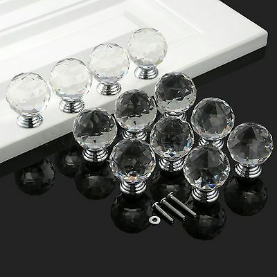 Clear 40mm Round Door Knob Crystal Glass Pull Cabinet Closet Kitchen Home Handle