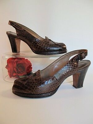 Vintage 1940s I. Miller Crocodile Reptile Platform Shoes Brown Peep Toe 7 7.5 N