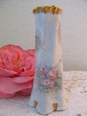 Vintage Hand Painted HatPin Holder Vase Roses Z S and Co Bavaria Pink Blue Gold