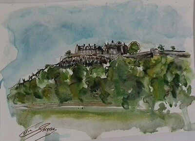 """original watercolour painting """"STIRLING CASTLE """"signed Colin statter Artist"""