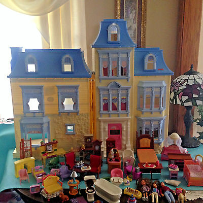 FISHER PRICE LOVING FAMILY SWEET SOUNDS VTG DOLL HOUSE 51p LOT Furniture LOADED