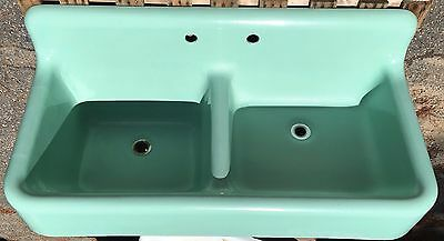 Vintage c1932 Standard Cast Iron & Porcelain Double Basin Farm Sink Green Faucet