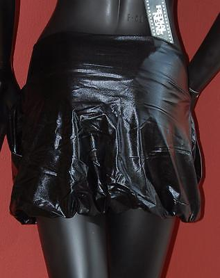 Super Mini ROCK kurz SCHWARZ Wet-Look Stretch GOGO Party 30 32 34 36 XXS XS S M
