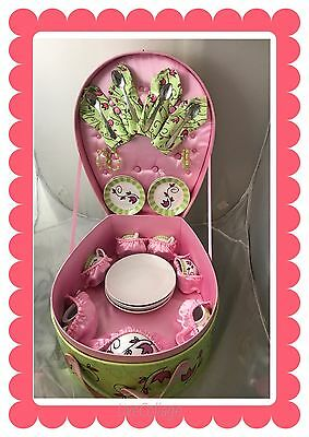 Vtg. Child's Porcelain Tea/ Coffee Set Toysmith Pink & Green Carrying Case Tote