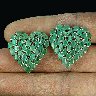 Sterling Silver 925 Genuine Natural Oval Green Emerald Heart Cluster Earrings