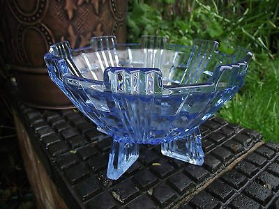 Czech ? / Libochovice ? Art Deco Blue Glass Four Footed Bowl