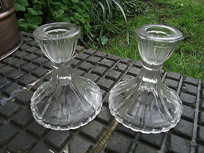 Candlesticks - Art Deco / Retro Clear Glass - Vintage Shabby Chic