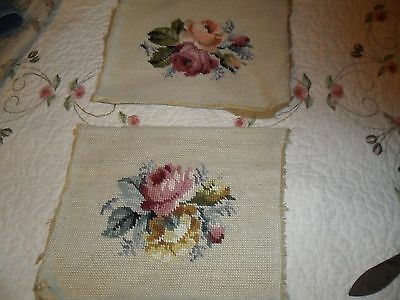 Pr. Antique/vintage Needlepoint 'roses' Pictures Tapestry - Reduced Shipping