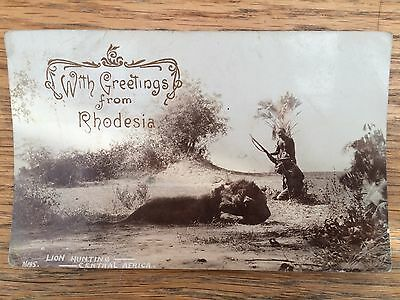 RP Postcard, 'Lion hunting central Africa' c.1900s