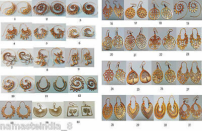 50 Pairs Solid Brass Wholesale 50 Pair Lot Plain Designer Long Earring Jewelry