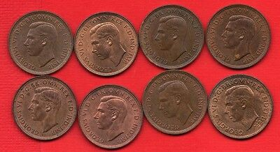8 Different George Vi Ship Halfpenny Coins Dated 1937 - 1949 High Grade Ha'penny