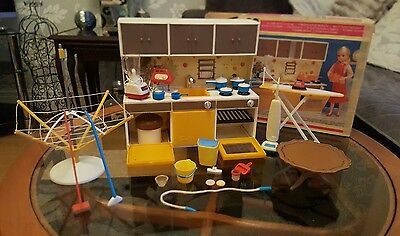 Vintage Sindy kitchen set and ironing board with multi accessories