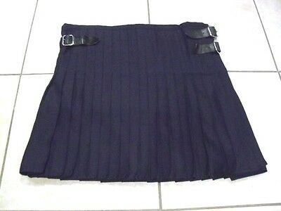 Vintage Scottish Navy Blue Leather Straps kilt.