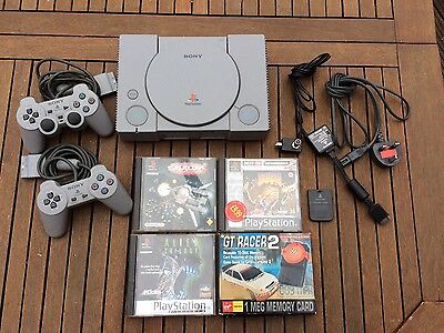 Sony PlayStation One PS1 Bundle 3 Games And 2 Controllers Memory Card