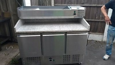 commercial pizza/salad fridge, 3 door, granite top nearly new