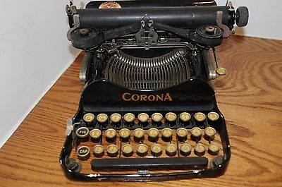 Antique 1917 Smith Corona No. 3 Black Folding Vintage Portable Typewriter Corona