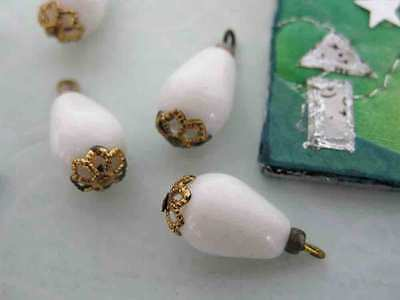 Vintage Glass Beads With Bead Caps Chalk White Deco 16mm