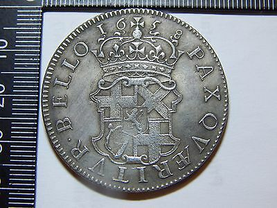 1658 Oliver Cromwell Silver Crown Restrike Antique Rare Coin L@@k 5/- #1
