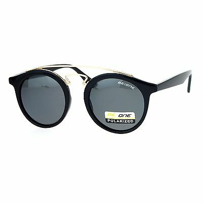 Be One Womens Polarized Lens Sunglasses Vintage Arched Metal Top Round