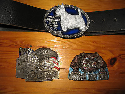 Leather Belt with Three interchangeable Metal Buckles