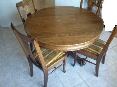 Rare Early American Oak Claw Foot Round Dining Table with 5 Chairs