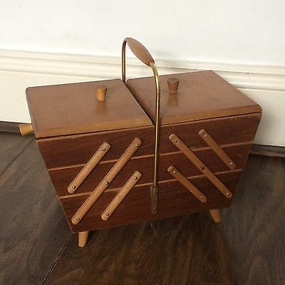 Vtg Sewing Box Wooden Cantilever Craft Box Mid Century 3-Tier footed *RARE*