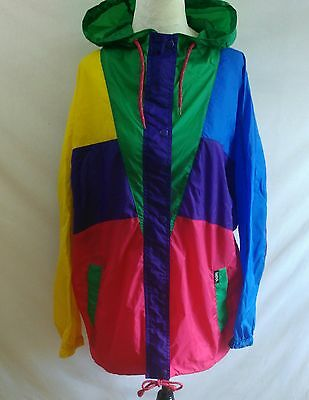 Vintage ISPO Windbreaker Size M Hooded Color Block Bright Oversize Street Wear