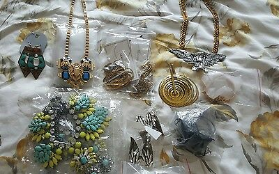 Job lot of costume statement diamante bling jewellery necklaces rings earrings