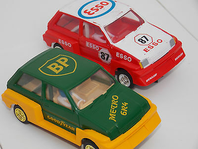 Vintage Scalextric Cars  BP METRO 6R4 & ESSO 87 METRO   (magnets fitted)
