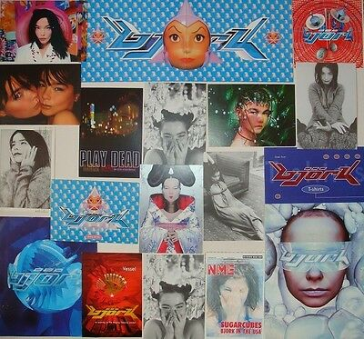Björk set of 18 postcards and flyers 90's Debut Post Cuttings Clippings