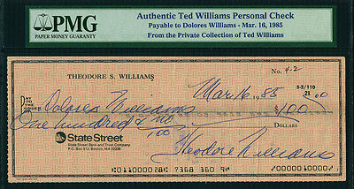 Ted Williams Signed Personal Check From 1985 To His Third Wife Dolores Wettach