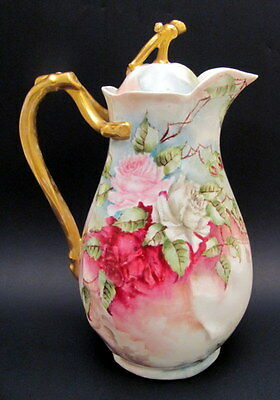 Antique Hand Painted T&V Limoges Chocolate Pot Roses Signed & Dated