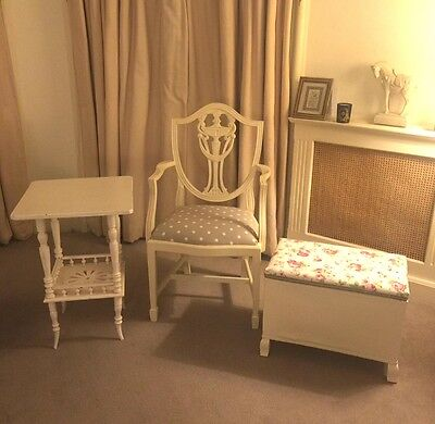 Items of white furniture beautiful condition- chair, table & lloyd loom chest