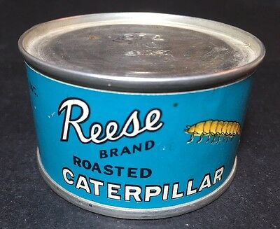 Vintage Unopened Reese Finer Foods Chicago Roasted Caterpillar Tin Advertising
